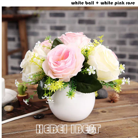 Artifical Table Flower with Ceramic Pot