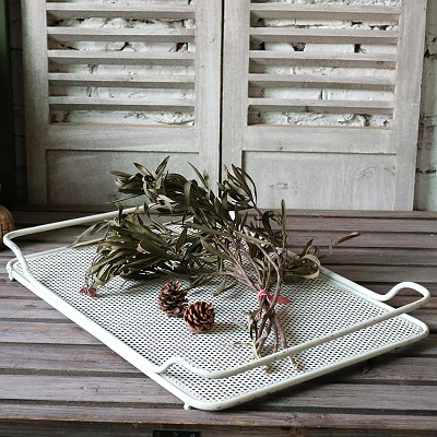 Vintage metal plant flower herbs tray for garden d cor for Scarecrow home decorations co ltd