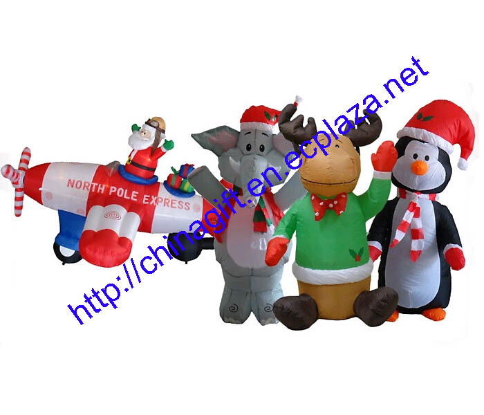 Christmas Inflatable Penguin, Elephant,Santa claus in plane