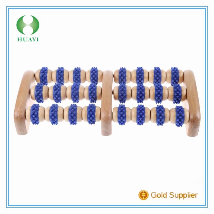 Latest new bright blue wooden foot massager roller