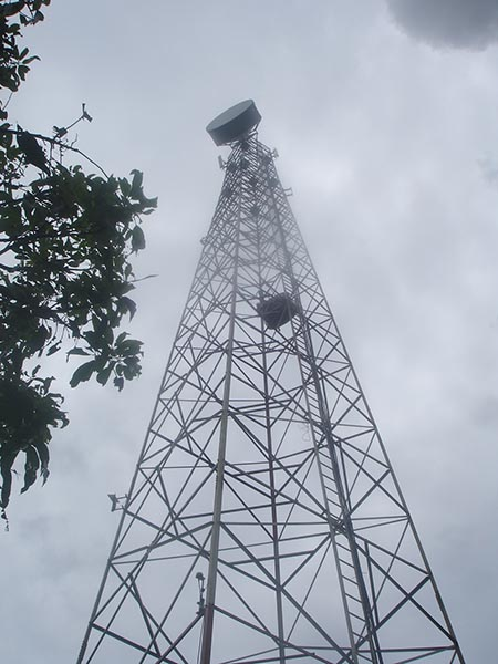 Customized 20-100m high 4-leg self supporting microwave lattice steel tower