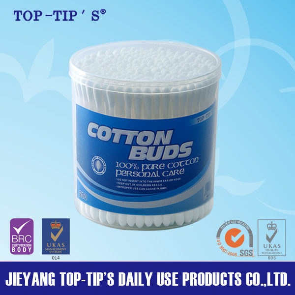 200pcs plastic Cotton Buds/Cotton Swabs/Cotton Tips in Round Can