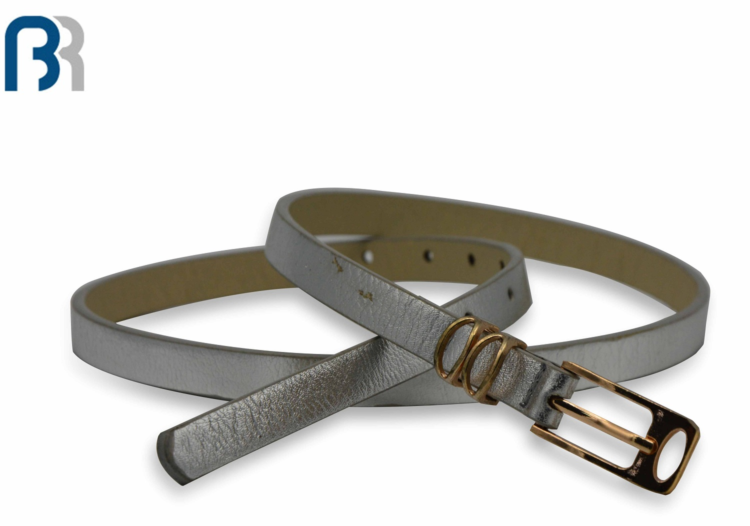 Silver Finish PU Belt With Double Shine Metal Rings