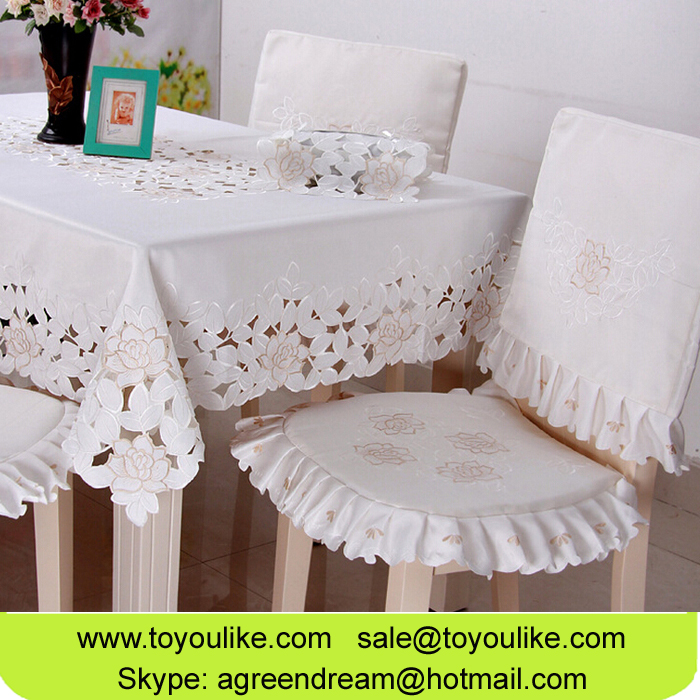 Toyoulike Cutwork Embroidered Polyester Dining Table Cover Chair Cover Set Table Runners White