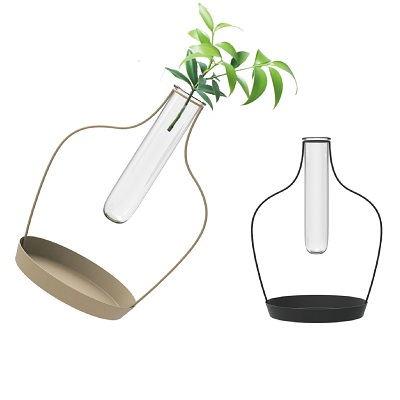 Set Of 2 Metal Stand Glass Tube Vase Flower Pot Shape Design