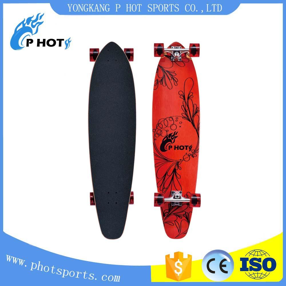 7 layer canadian maple single kick heat transfer longboard skateboard