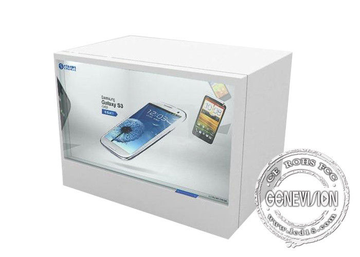 White Colour Touch Screen Digital Signage IR Touch Transparent Showcase With Android System