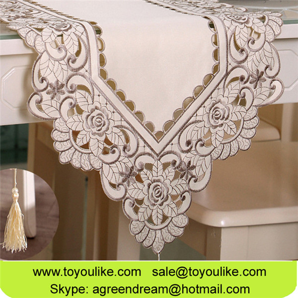 Polyester Cutwork Embroidered Beige Table Runner