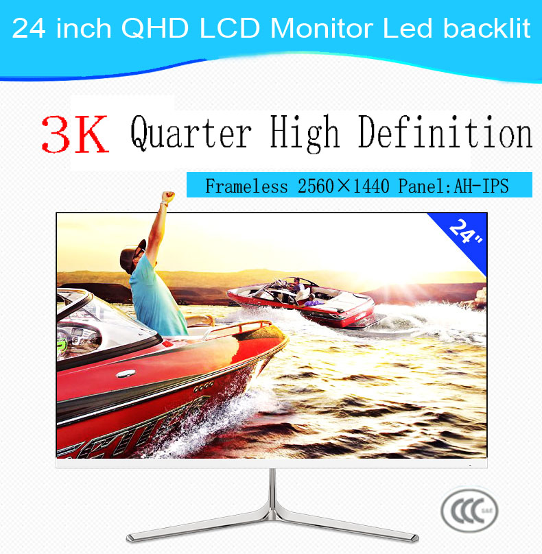 "24""LCD monitor led backlit QHD25601440 with VGA DVI HDMI & Audio input"