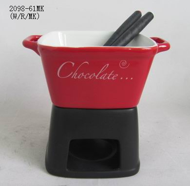 hot sale stoneware chocolate fondue set