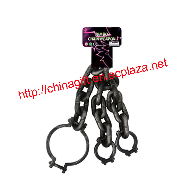 Jumbo Plastic Prisoner Chain With Neck & Wrist Shackles Handcuffs Halloween Party Props