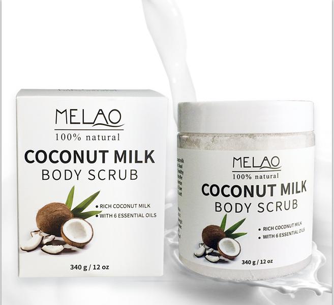 Coconut Milk Body Scrub Anti Cellulite Scrub & Exfoliator, 12 Oz Natural Skin Care Formula Helps wit