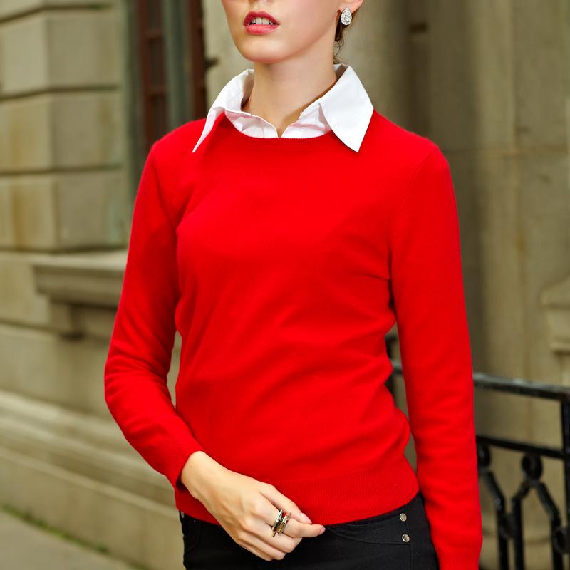 womens crew neck pure cashmere sweater warm pullover