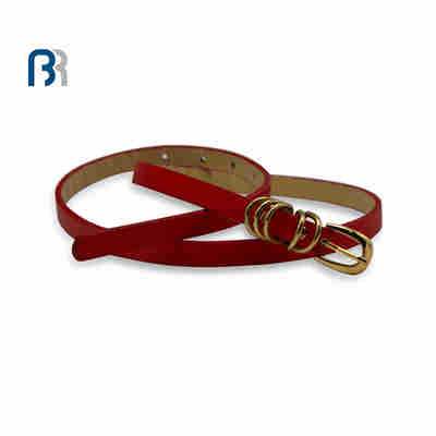 Women's Red PU Belt With Gold Shine Buckle