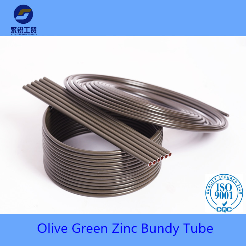 double wall olive green coated bundy pipe for auto brake system