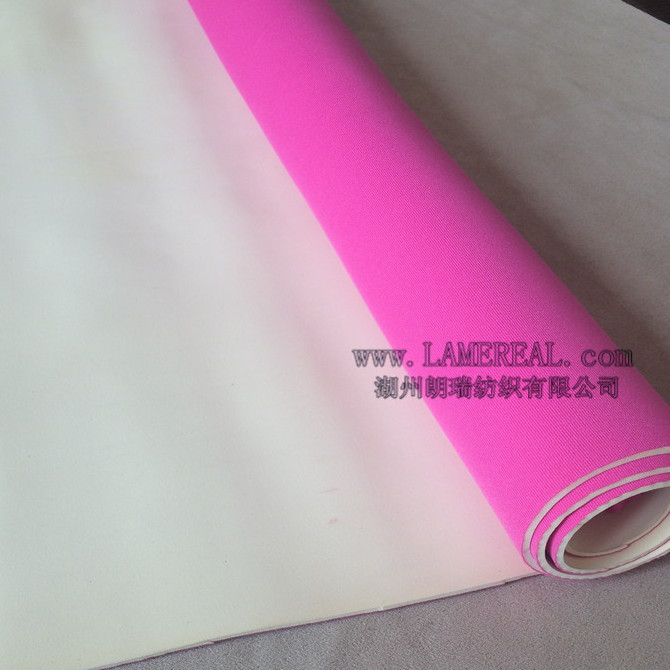 Pink neoprene fabric 2mm neoprene polyester fabric cheap for lining cozy back wrap beach sports