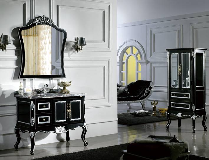 french rococo style antique bathroom vanity with silver foil