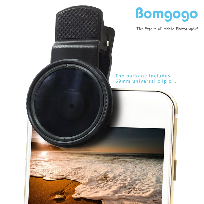 Bomgogo 37mm ND8 Filter Lens, Professional Cell Phone Camera Neutral Density 8 Lens Kit