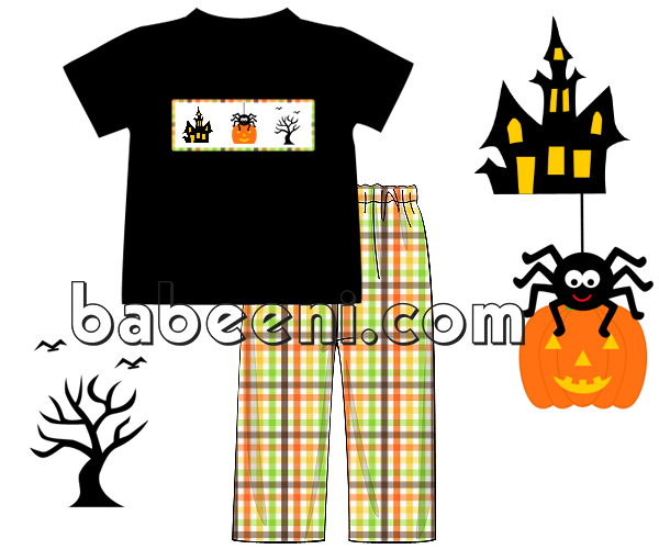 Nice halloween smocked boy outfit - BC 729