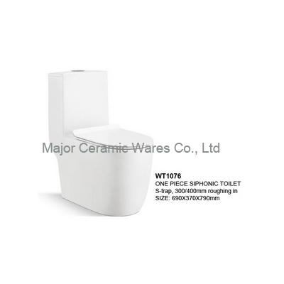WT1076 ONE PIECE SIPHONIC TOILET, S-TRAP 300/400MM