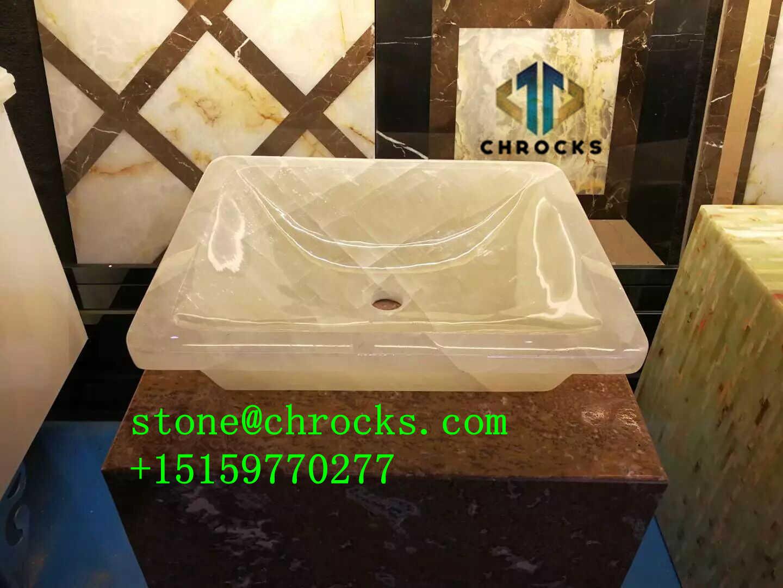 White Onyx Bathroom Sink,Vessel Sink