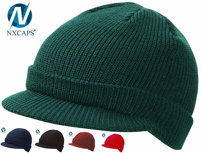 Plain beanie with custom tags cuff visor beanie hat with flat brim rib knit cap keep warm hats