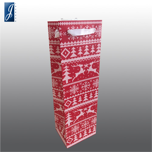 Customized wine packaging paper bag for CHRISMAS