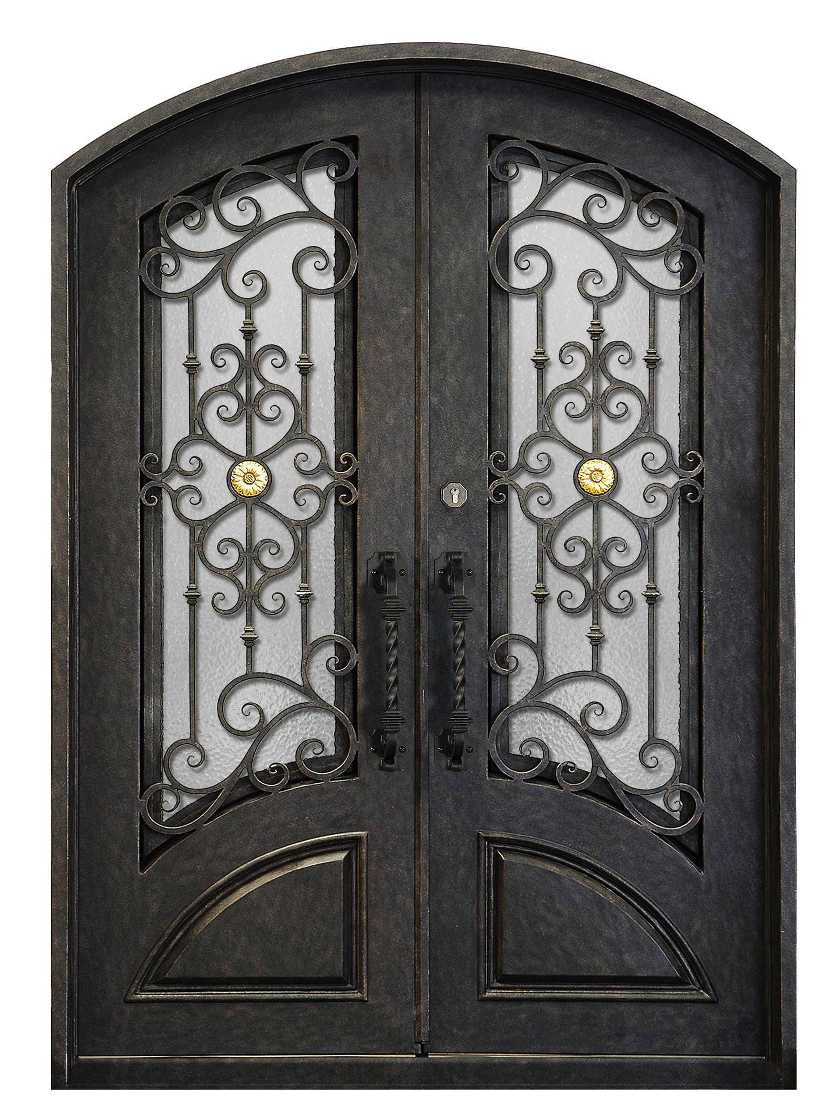 Eyebrow Wrought Iron Double Entry Doors for House(JDL-1007)