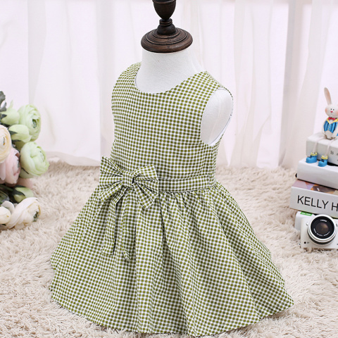 2017 Children Dress Kids Without Sleeve Fashion Kids Clothes Green Dresses For Kids LSCG1702G