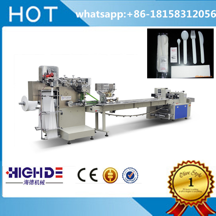 tissue plastic tableware fully automatiuc feeding and packaging machine knife fork spoon