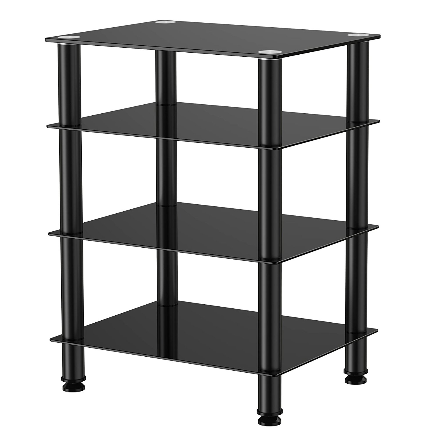 4-Tier Media Component Stand Audio Cabinet with Glass Shelf