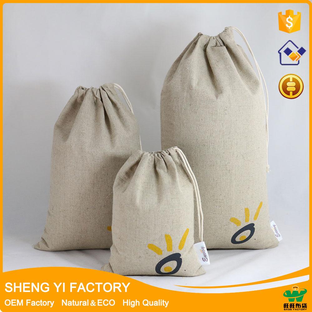 wholesale cotton linen drawstring bag with custom logo