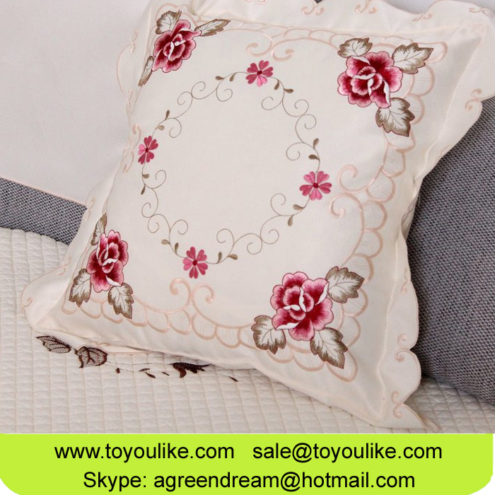 Exquisite Flower Embroidered Polyester Throw Cushion Cover for Home Decor