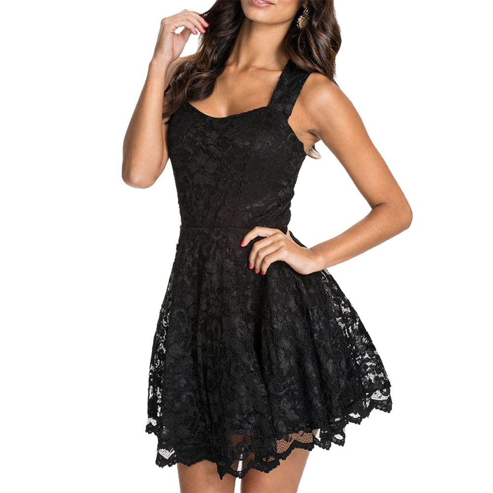 Womens Casual Fancy Prom Dress Gown Lace Sleeveless Mini Skater