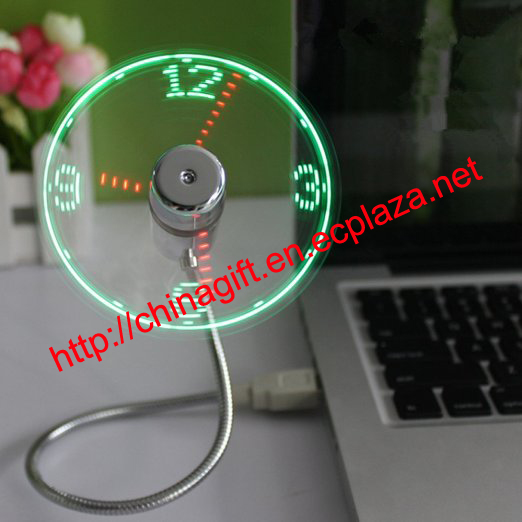 USB LED Clock Fan with Real Time Display Function