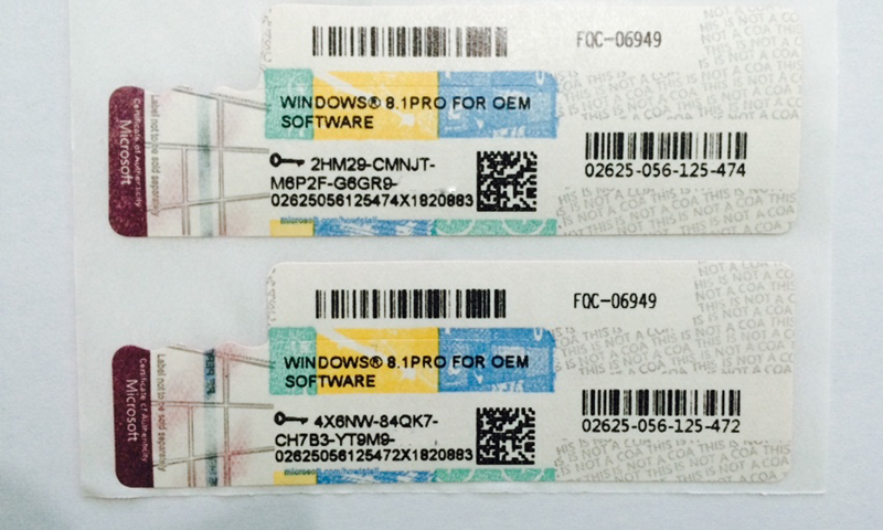 on sale win 8.1 pro oem new COA stickers online activation