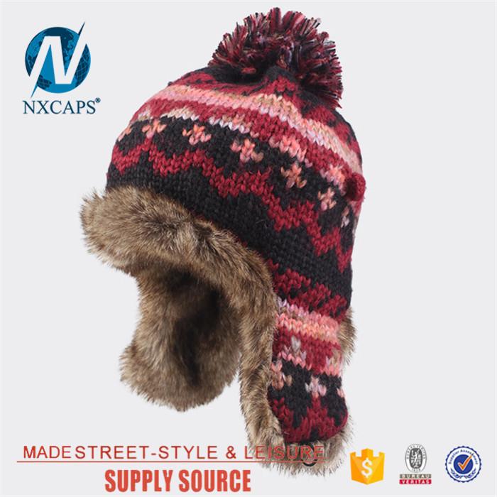 Top quality OEM/ODM selling pom pom winter hat women fur ball knitting beanie custom earflap cap