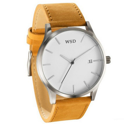 Fashion brand leather band wrist watches mens business brief watches