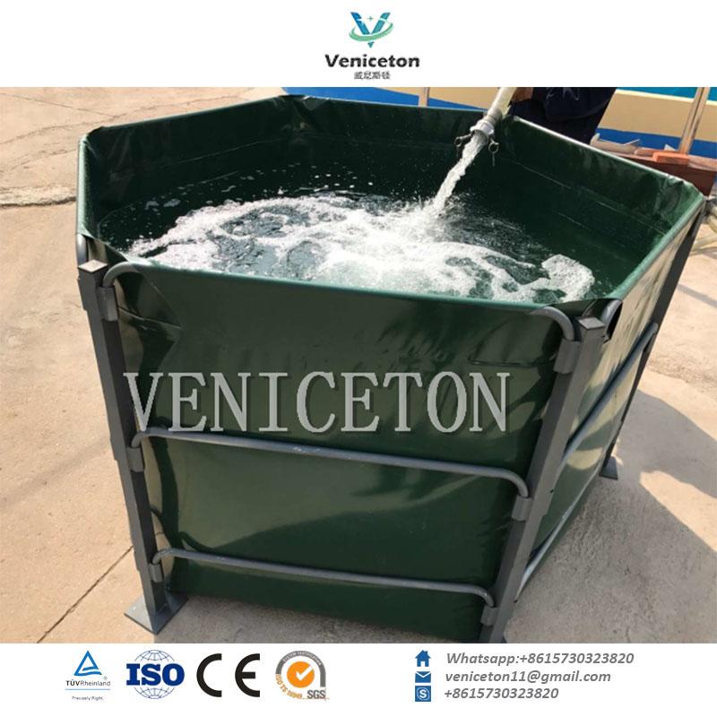 7000L, 5000L, 3000L Round or Square PVC frame water tank for fish farm