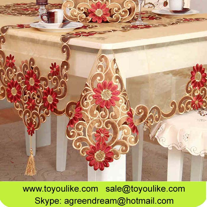 Toyoulike Luxury Handmade Cutwork Flower Embroidered Organdy Dining Table Cloth Chair Cover Set