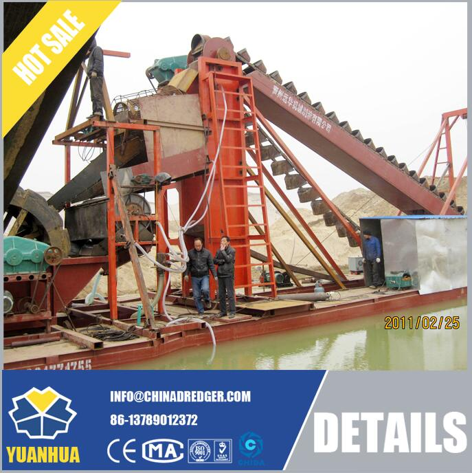 Bucket Chain Dredger with trommel screen for sand processing