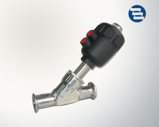 Sanitary Stainless Steel Clamped Threaded Weleded Flanged Pneumatic Angle Seat Valve