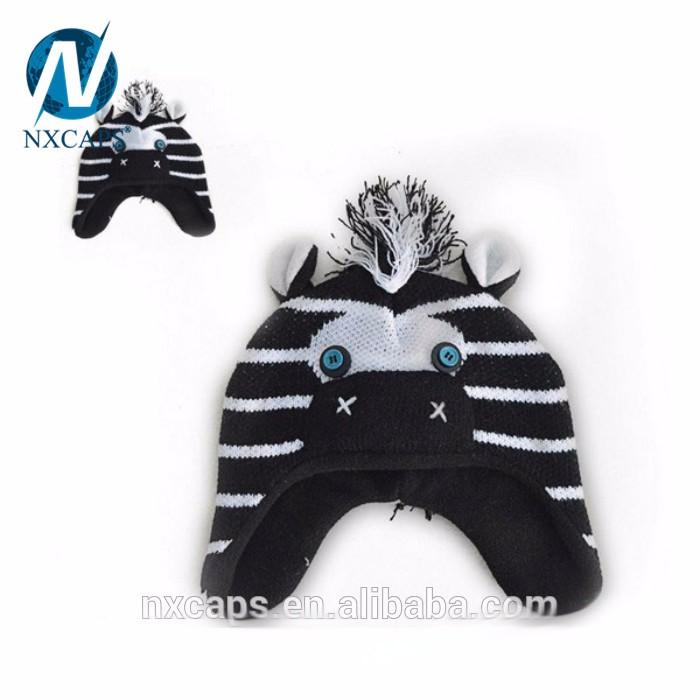 Knitting Winter Warm Earflap Cap Fashion Animal hat Crochet Baby Hat