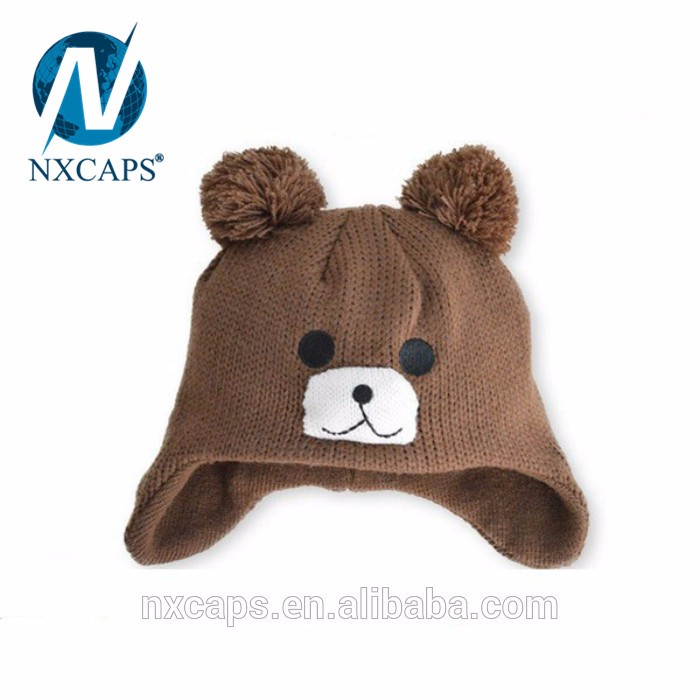 Knitting Winter Warm Earflap Cap Fashion Crochet Baby Beanie Hat custom animal beanie hat
