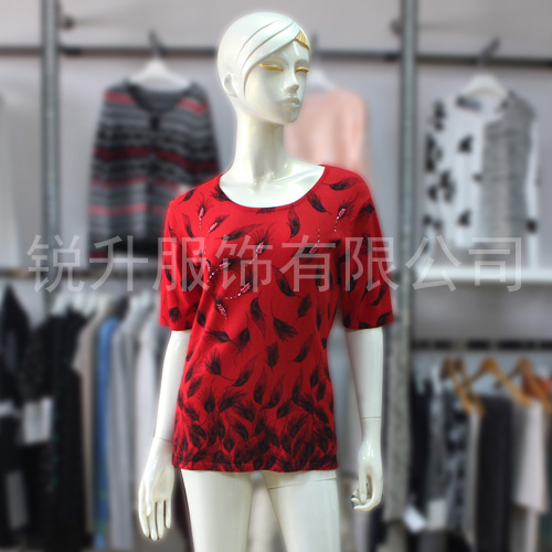 Short Sleeve Red Print Sweater S/S Hot Knit Tshirt Two Color Design