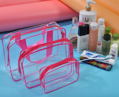 Transparent PVC Travel Receive Pouch Bag 3 pcs Suit
