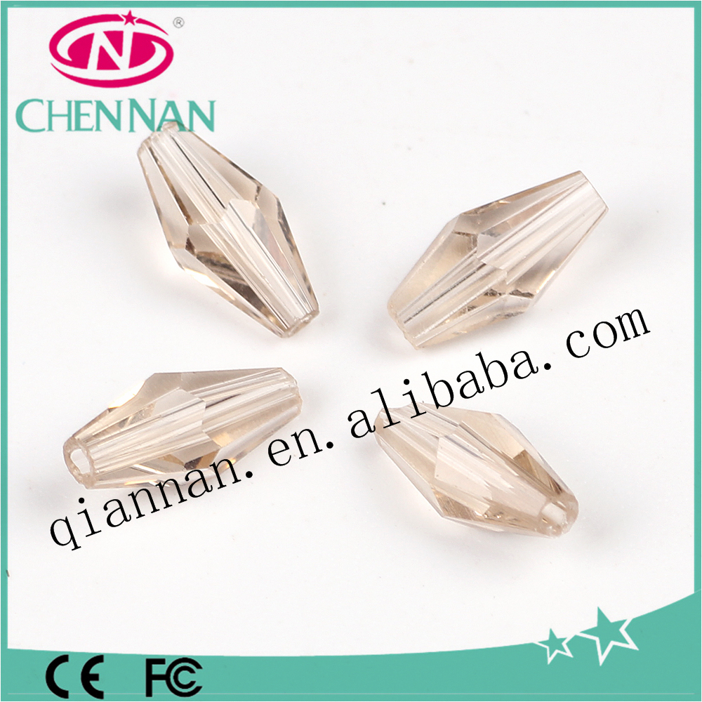 2017 hot sale lampwork italian shampagne faceted cool long bicone crystal beads