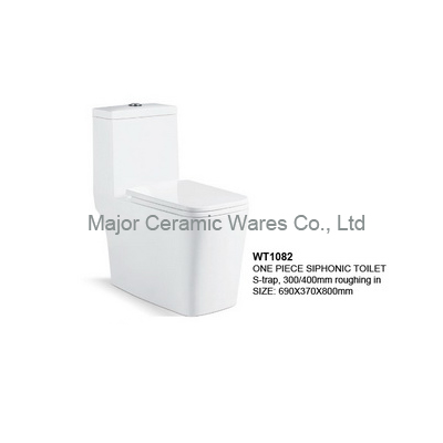 WT1082 ONE PIECE SIPHONIC TOILET, S-TRAP 300/400MM