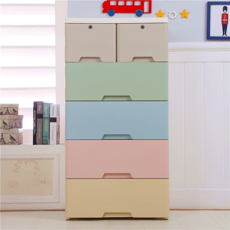 Cartoon printing baby plastic drawer cabinet