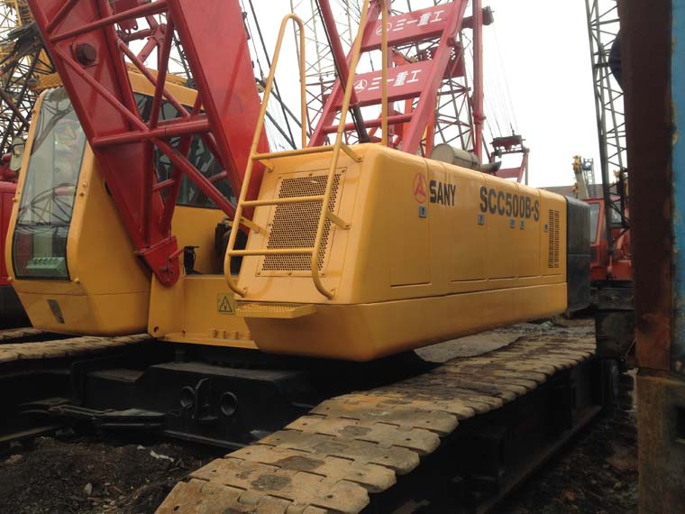 Used 50 ton Sany crawler crane SCC500B-S for sale, also 55 ton 90 ton crawler crane year 2013 2014